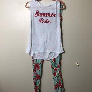 Women's Watermelon Custom Pajama Set. XL. NWOT